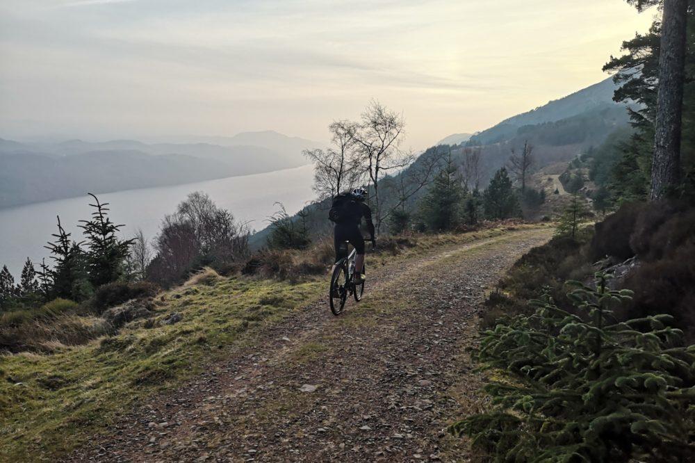 Cyclist Loch Ness Whitebridge Hotel South Loch Ness